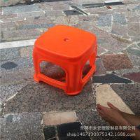 加厚特大号塑料高方凳 简约蓝色红色四脚塑胶凳子 特厚板凳