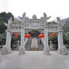花岗岩单门石牌坊|寺庙石头山门|景点标志建筑