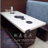 西乡厂家直销 大理石火锅桌椅 铸铁火锅桌椅 电磁炉烧烤桌 定制