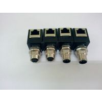 科迎法M12转RJ45防水插头连接器 IP67防水等级网络接头连接器插头
