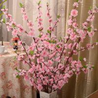 厂家批发绢花仿真桃花客厅落地装饰假花植物60头樱花枝室外梅花