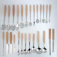 台湾原木木质色榉木木柄不锈钢餐具刀叉勺 特色木头勺叉刀批发