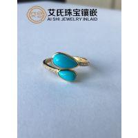 绿松石专业定制镶嵌复古戒指、吊坠,珠宝首饰加工镶嵌