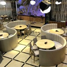 江门港式茶餐厅家具桌椅定做,简约现代板材卡座和人造石餐桌组合案例实拍