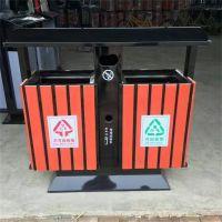 沧州志鹏供应户外广场小区街道学校马路 景区钢木双桶垃圾桶 废弃箱 果皮箱
