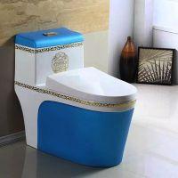 卫生间陶瓷创意彩色连体欧式简约虹吸式座便器