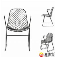 台州市桌椅定做厂家,一体成型铁线室内户外用休闲全铁艺现代椅子