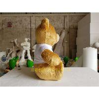 厂家直销玻璃钢毛绒熊雕塑 仿真毛绒公仔雕塑摆件