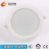 厂家直销LED玻璃面板灯 超薄筒灯玻璃平板灯 6/12/18/24w面板灯