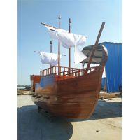 殿宝工艺木船厂定制大型景观海盗船 广场亮化装饰船 海鲜船 室内帆船摆件
