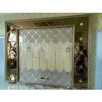 焕彩 异形夹丝玻璃拼镜背景墙 电视玄关餐厅酒店装饰影视墙