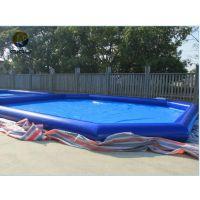 夏季挣钱充气池子定做 50平充气游泳池什么价 打气广场水池气垫多少一平