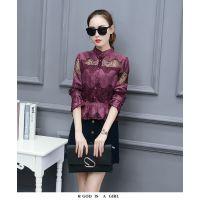 蕾丝衫女韩版修身立领镂空短款上衣长袖
