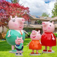 玻璃钢雕塑粉红猪小妹小猪佩奇卡通公仔 幼儿园户外装饰 商场美陈动漫人仔