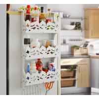 创意冰箱侧挂木架 多功能厨房储物归类三层简约无螺丝置物收纳架