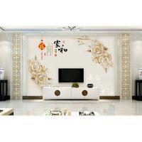信阳现代简约壁画批发 信阳电视背景墙壁画 3D5D电视墙 个性电视背景墙定制 中式欧式背景墙 玄关壁