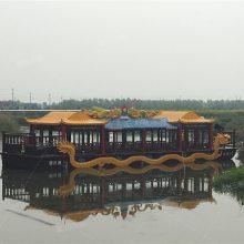 广西景区木船哪里的,得胜湖大型木船专卖公园景区画舫双层全景旅游船餐饮住宿服务类客船