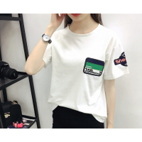 厂家直销批发2018大码女装刺绣五角星圆领棉T恤宽松上衣女式学生便宜T恤
