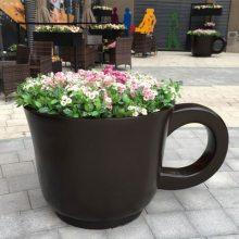 户外景观花盆艺宇玻璃钢树脂创意花钵 仿真咖啡杯马克杯造型种花器摆件