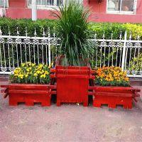 定制户外实木花箱 广场 园林 景观木质花盆 街道绿化带原木种植箱 木质花箱