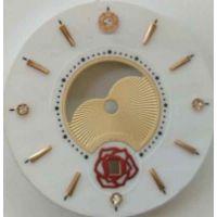 白色河贝油压喷砂金底纹手表盘