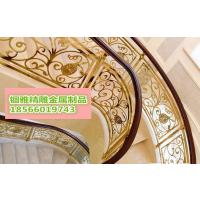 锢雅精雕纯铜雕刻护栏,铜板雕花旋转楼梯护栏