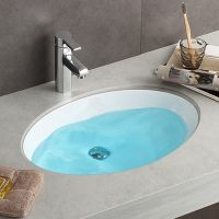 卫浴椭圆洗手间陶瓷嵌入式浴室柜小号台下盆理石面盆洗手盆台下安装洗面盆