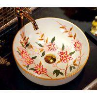 台盆洁具陶瓷中式手绘彩色圆形洗手洗脸艺术盆
