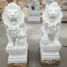 石雕狮子汉白玉石狮子雕刻精雕欧式公母门口狮子厂家定做