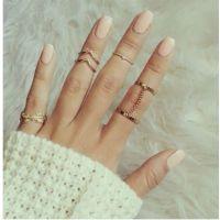 速卖通爆款饰品 镶钻叶子树叶V形关节戒指 连指链条6件套装戒指