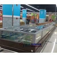 生鲜超市风冷双岛柜,呼和浩特速冻水饺展示柜,徽点品牌玻璃门岛柜