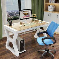 简约现代办公桌钢化玻璃台式家用电脑桌办公简易学习桌儿童写字桌