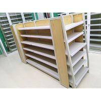青岛连锁药店木背板展示货架 双面中岛架钢背孔背西药橱中药柜