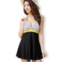 广州泳衣厂女士保守分体泳装裙式显瘦遮肚小胸大码平角游泳衣