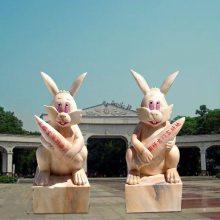 石雕迎宾生肖兔子晚霞红园林庭院景观装饰动物雕塑招财摆件曲阳万洋雕刻厂家定做