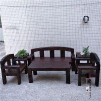 老船木沙发 原木实木客厅万字沙发组合 原生态茶桌 新款餐桌
