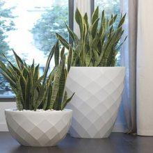 玻璃钢组合鹅卵石白色创意微景观室内装饰花钵 沧州玻璃钢花盆厂家供应