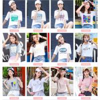 广州服装批发市场夏季新款女士T恤衫 圆领短袖t恤女白色印花女T低价批发大量夏季2018新款