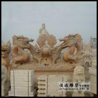 晚霞红双龙戏珠庭院广场石雕摆件生肖龙