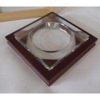 木制烟灰缸底座批发 红木色烟缸底托 水晶烟缸底座 木制工艺品 器皿