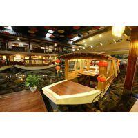 殿宝木船厂家供应水上餐饮木船 仿古画舫船 室内吃饭船 景观木船