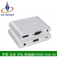 工厂直供 苹果 安卓接口转HDMI+VGA+AV音视频转换器 转接线 量大价优