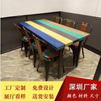 倍斯特美式乡村防火板餐桌复古主题餐厅湘菜工业风餐桌厂家定制