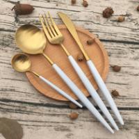 镀钛不锈钢餐具 304不锈钢叉勺 牛排刀叉 甜品勺 酒店用品餐具 促销礼品