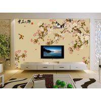 工笔花鸟软包壁画定制|背景墙手绘花鸟墙画壁纸厂家