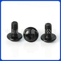 佛山中山黑色螺丝 圆头带垫机牙螺丝 黑色不锈钢螺丝厂