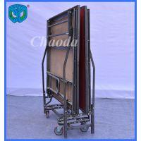 超达厂家供应 1.22*2.44m规格折叠伸缩铁舞台 带轮可移动 酒店专用