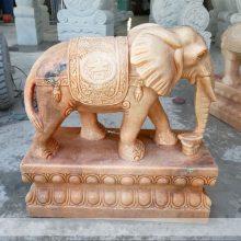 石雕大象晚霞红门口镇宅如意招财象摆件一对水池吐水石头象曲阳万洋雕刻定做
