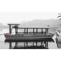 名扬木业供应 MY-090 富春山居高低篷旅游观光船仿古木船可坐16人手划摇橹电动船图片