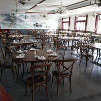 湖州农家乐休闲实木交叉椅时尚餐厅X椅主题餐厅实木餐桌椅